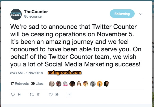 screenshot of the tweet by @thecounter announcing their company closing.