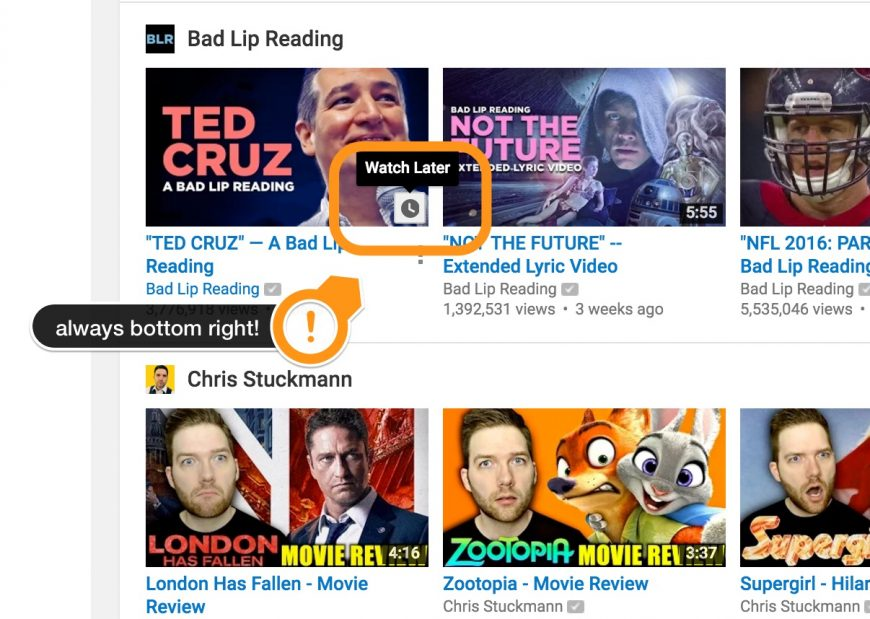 screenshot indicating where the watch later icon is on Youtube Videos