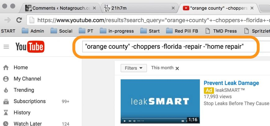screenshot highlighting a specific youtube search to find specific results