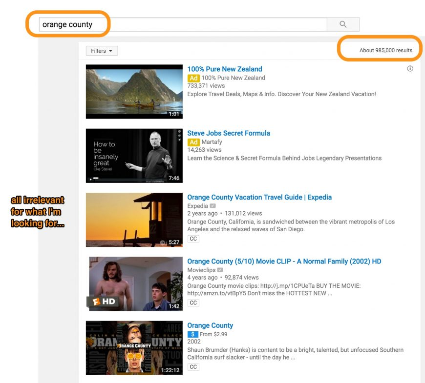 screenshot indicating a plain search and result on youtube
